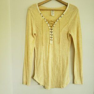 FREE PEOPLE Yellow Chilton Lace Up Long Sleeve Top